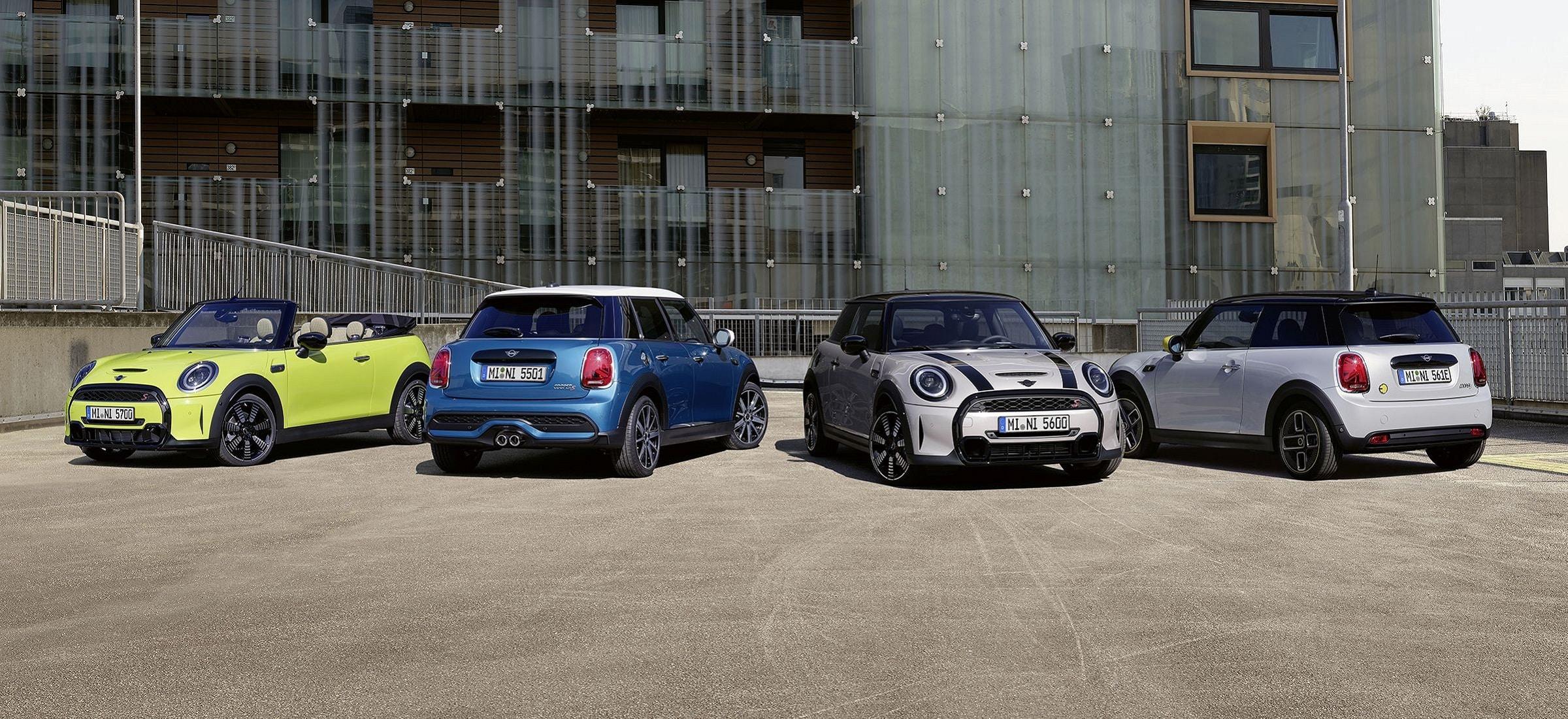 Der neue MINI 3-Türer, der MINI 5-Türer, das MINI Cabrio, der MINI Cooper SE.